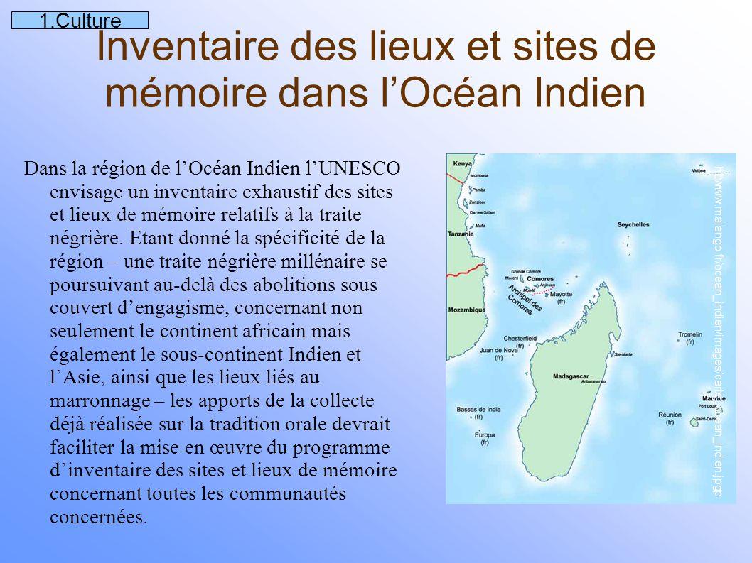 Inventaire des lieux et sites de mémoire dans l'Océan Indien