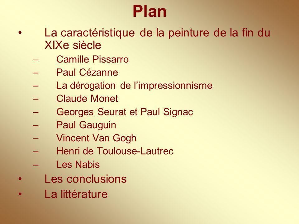 Plan La caractéristique de la peinture de la fin du XIXe siècle
