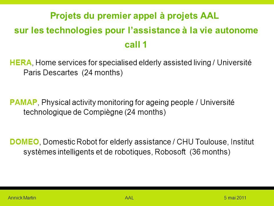 Projets du premier appel à projets AAL sur les technologies pour l'assistance à la vie autonome call 1