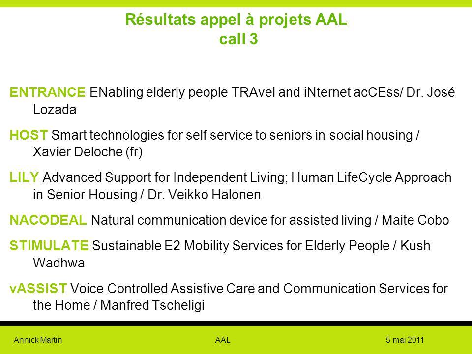 Résultats appel à projets AAL call 3