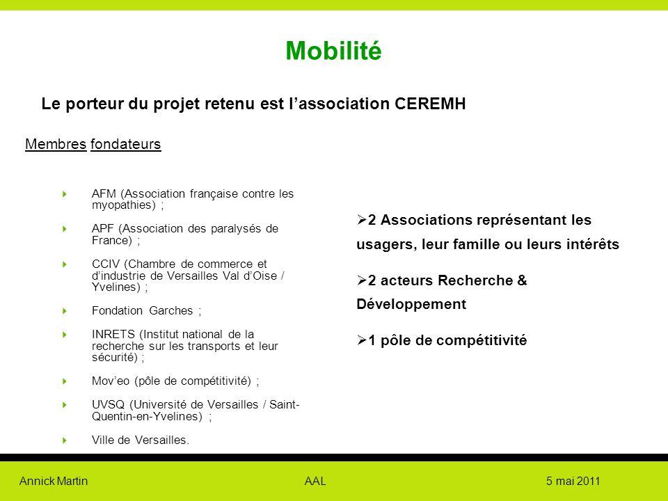 Mobilité Le porteur du projet retenu est l'association CEREMH