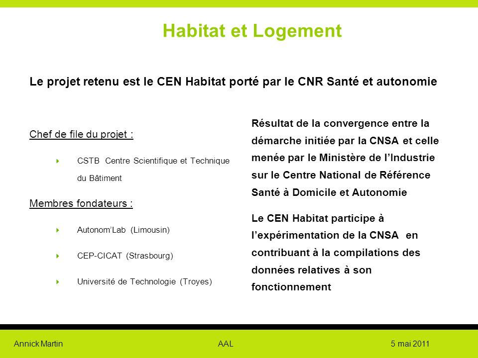 Habitat et Logement Le projet retenu est le CEN Habitat porté par le CNR Santé et autonomie.