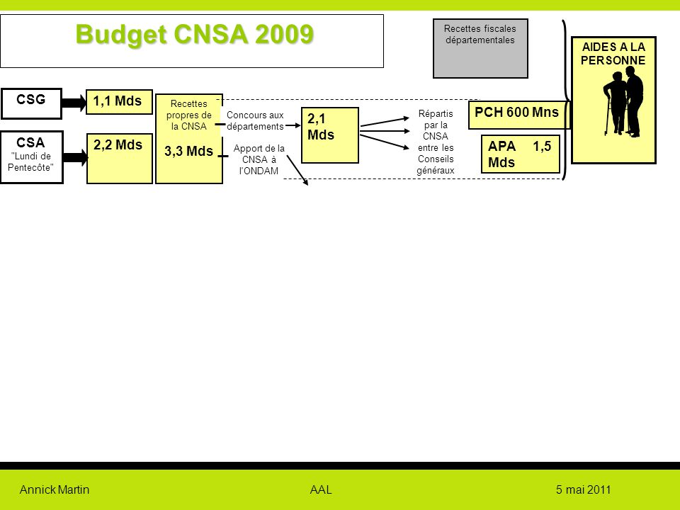 Budget CNSA 2009 individuel CSG 1,1 Mds PCH 600 Mns 2,1 Mds 3,3 Mds