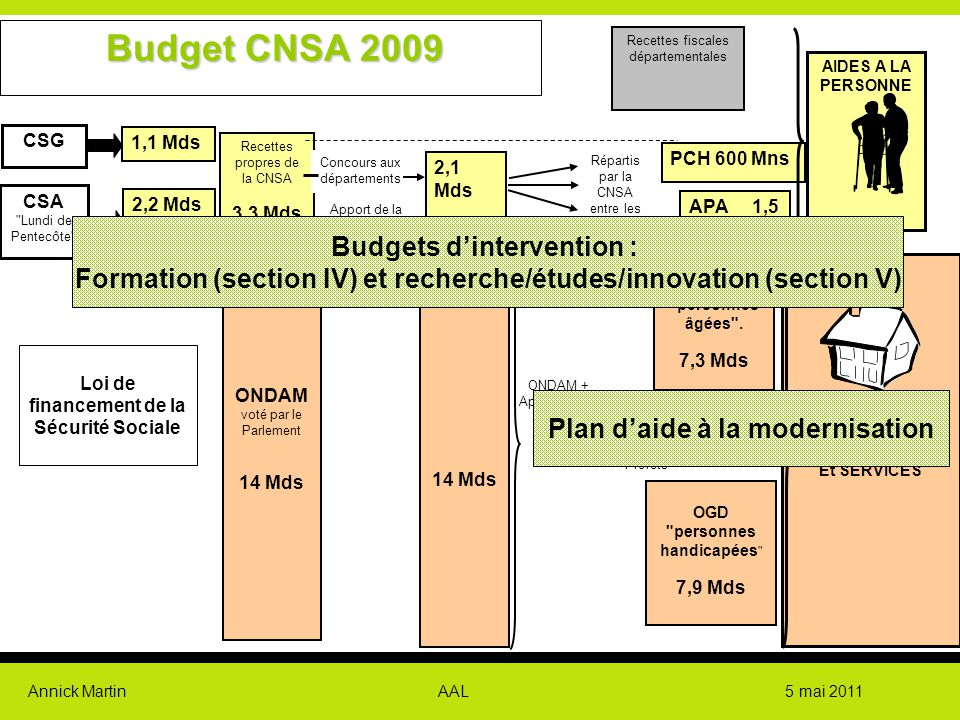 Budget CNSA 2009 Budgets d'intervention :