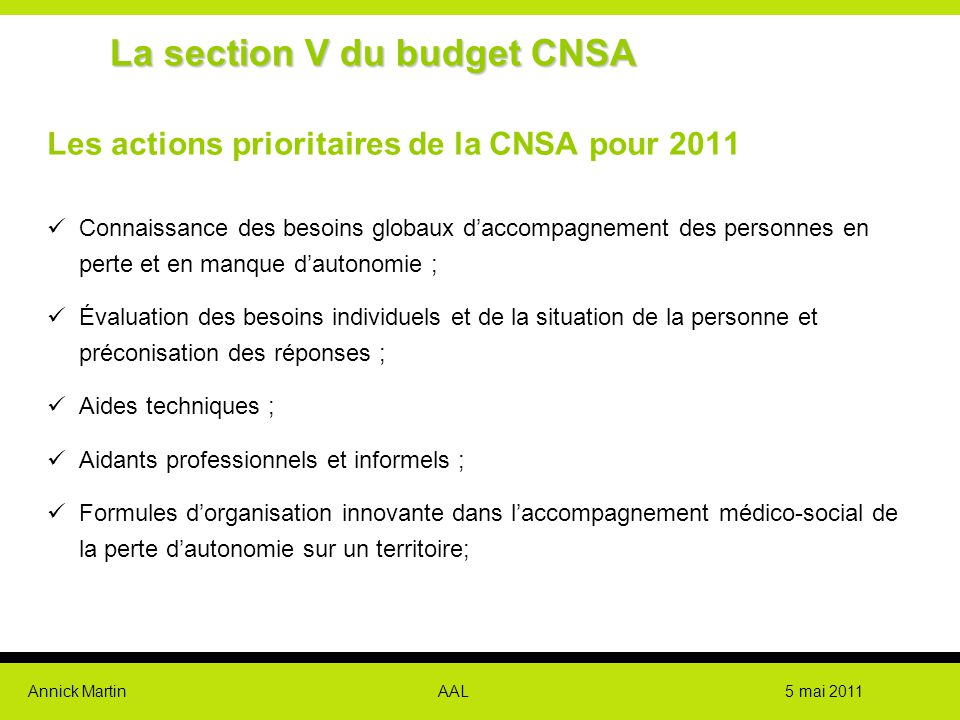 La section V du budget CNSA