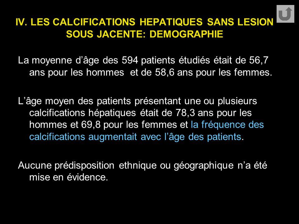 IV. LES CALCIFICATIONS HEPATIQUES SANS LESION SOUS JACENTE: DEMOGRAPHIE