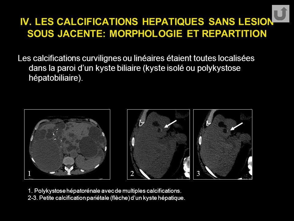 IV. LES CALCIFICATIONS HEPATIQUES SANS LESION SOUS JACENTE: MORPHOLOGIE ET REPARTITION