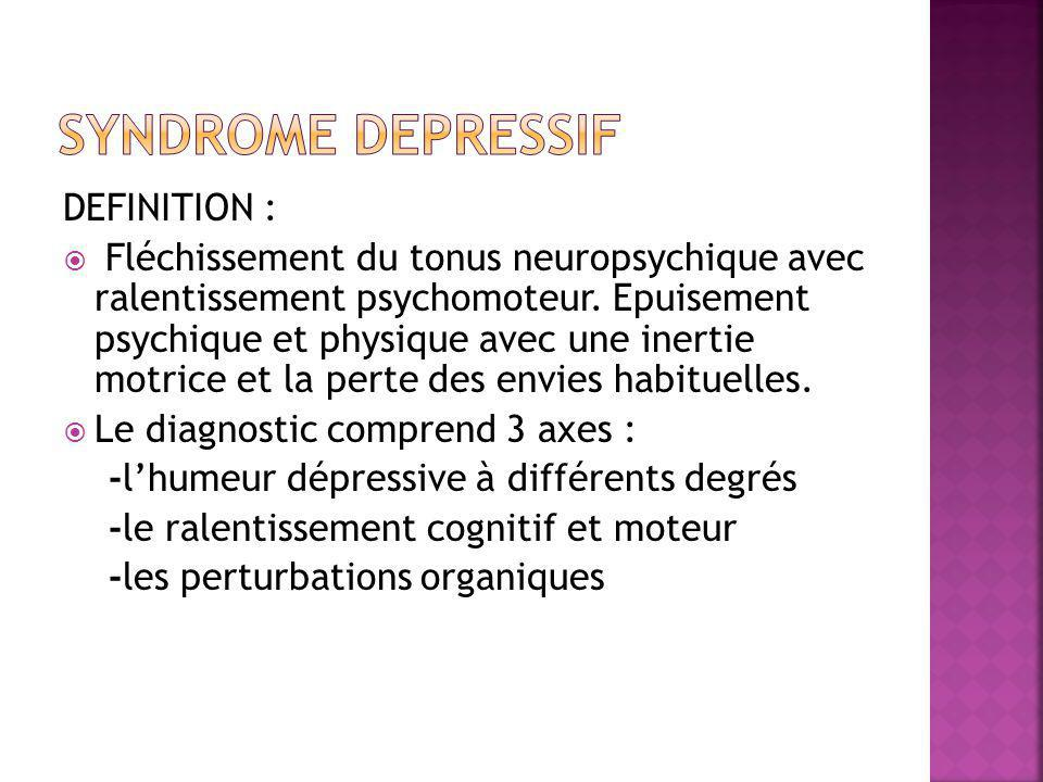 SYNDROME DEPRESSIF DEFINITION :