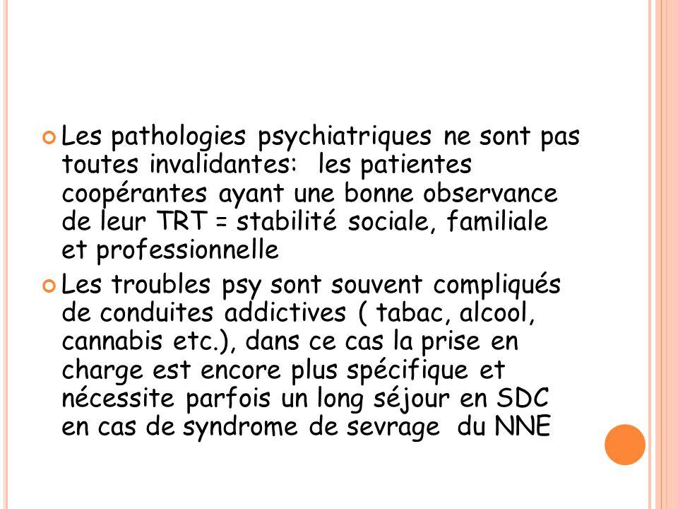 Les pathologies psychiatriques ne sont pas toutes invalidantes: les patientes coopérantes ayant une bonne observance de leur TRT = stabilité sociale, familiale et professionnelle