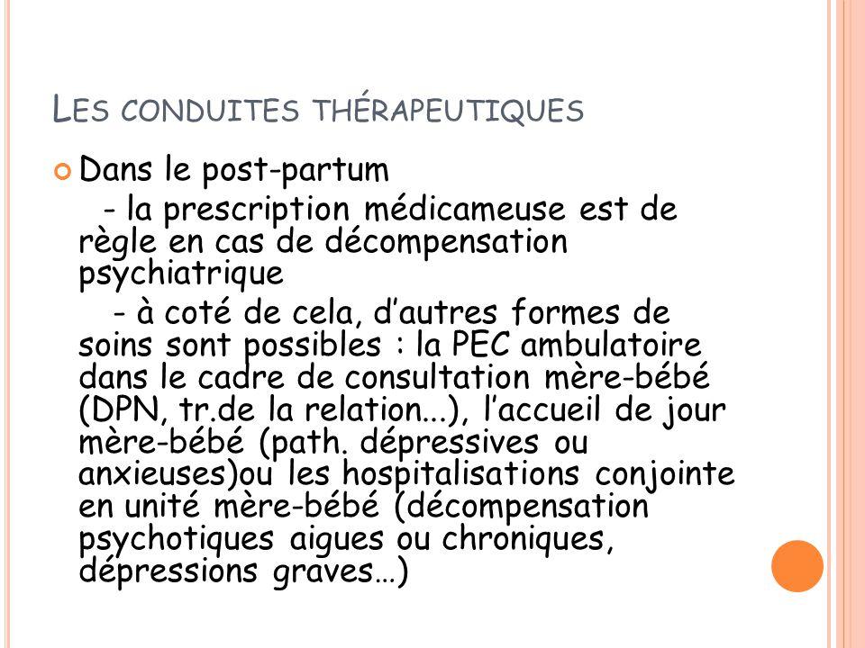 Les conduites thérapeutiques