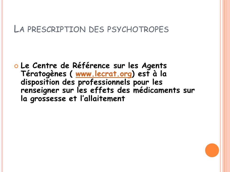 La prescription des psychotropes