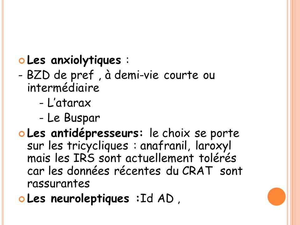 Les anxiolytiques : - BZD de pref , à demi-vie courte ou intermédiaire. - L'atarax. - Le Buspar.
