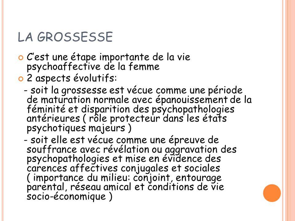 LA GROSSESSE C'est une étape importante de la vie psychoaffective de la femme. 2 aspects évolutifs: