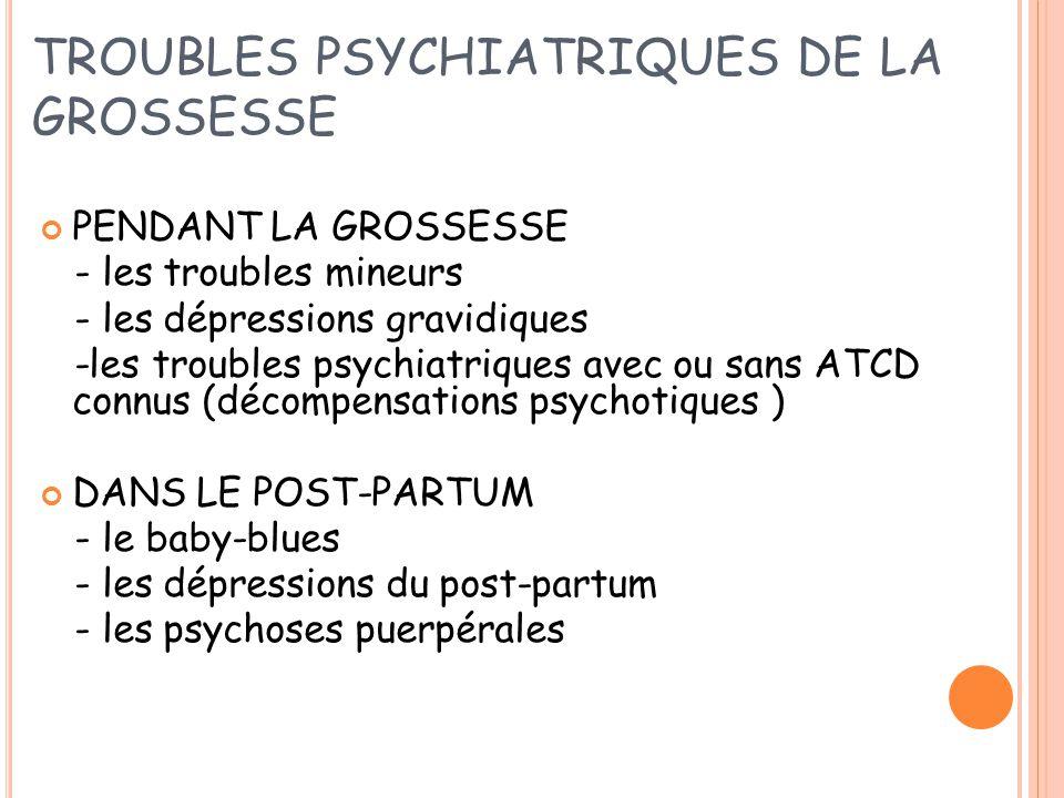 TROUBLES PSYCHIATRIQUES DE LA GROSSESSE