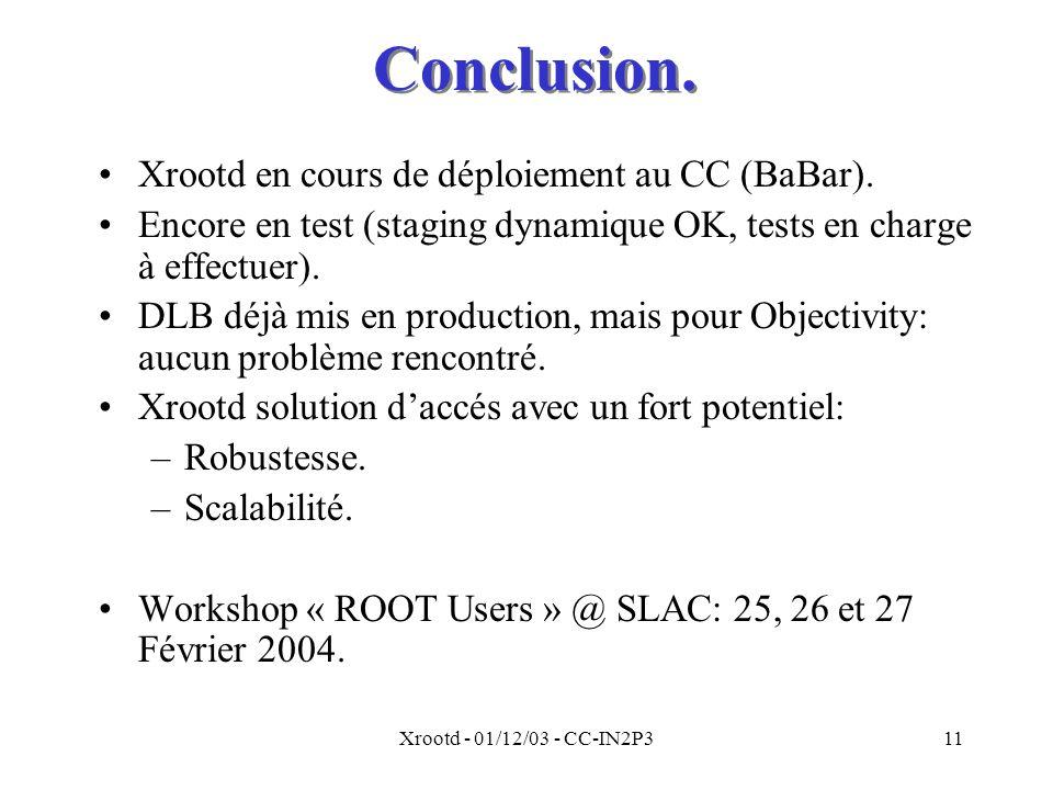 Conclusion. Xrootd en cours de déploiement au CC (BaBar).