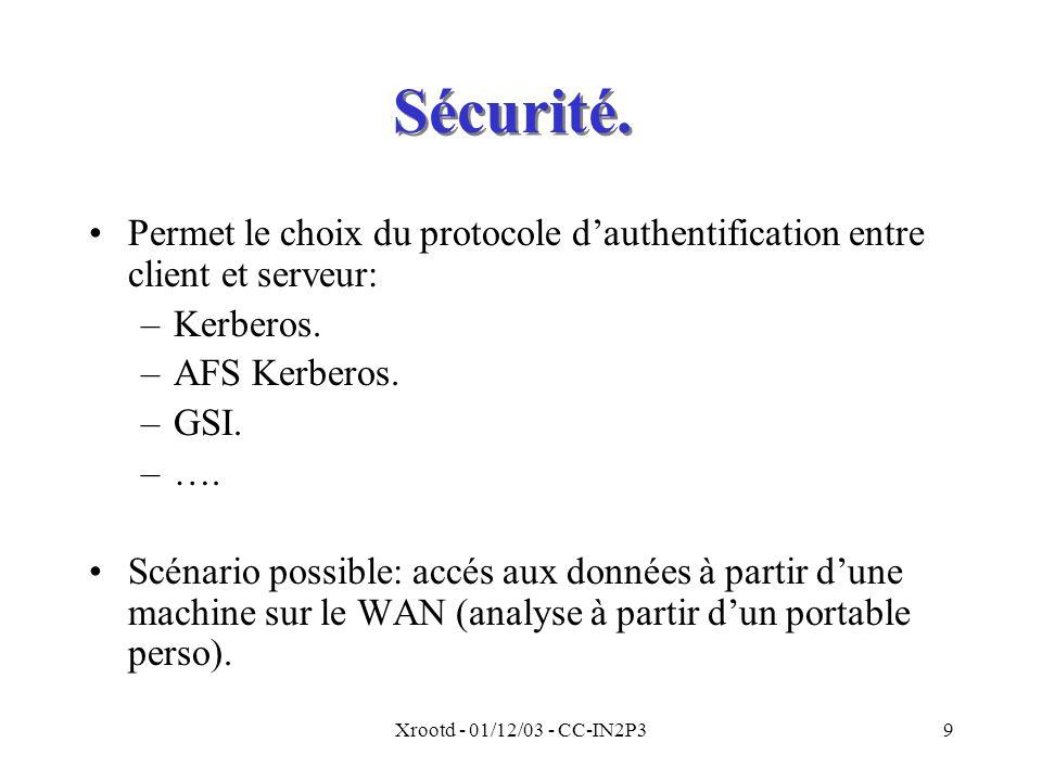 Sécurité. Permet le choix du protocole d'authentification entre client et serveur: Kerberos. AFS Kerberos.
