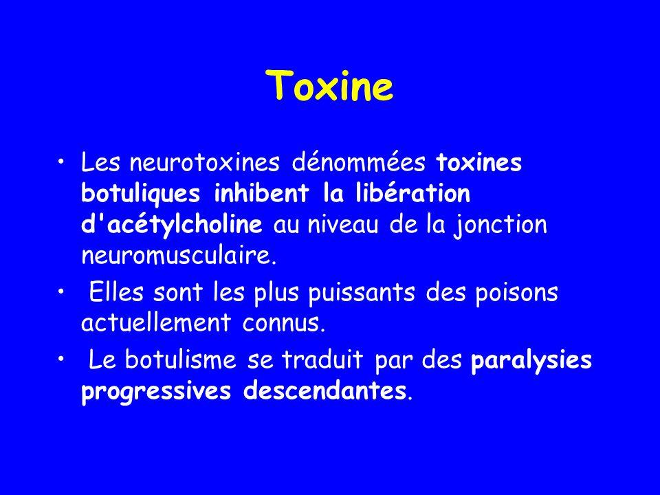 Toxine Les neurotoxines dénommées toxines botuliques inhibent la libération d acétylcholine au niveau de la jonction neuromusculaire.