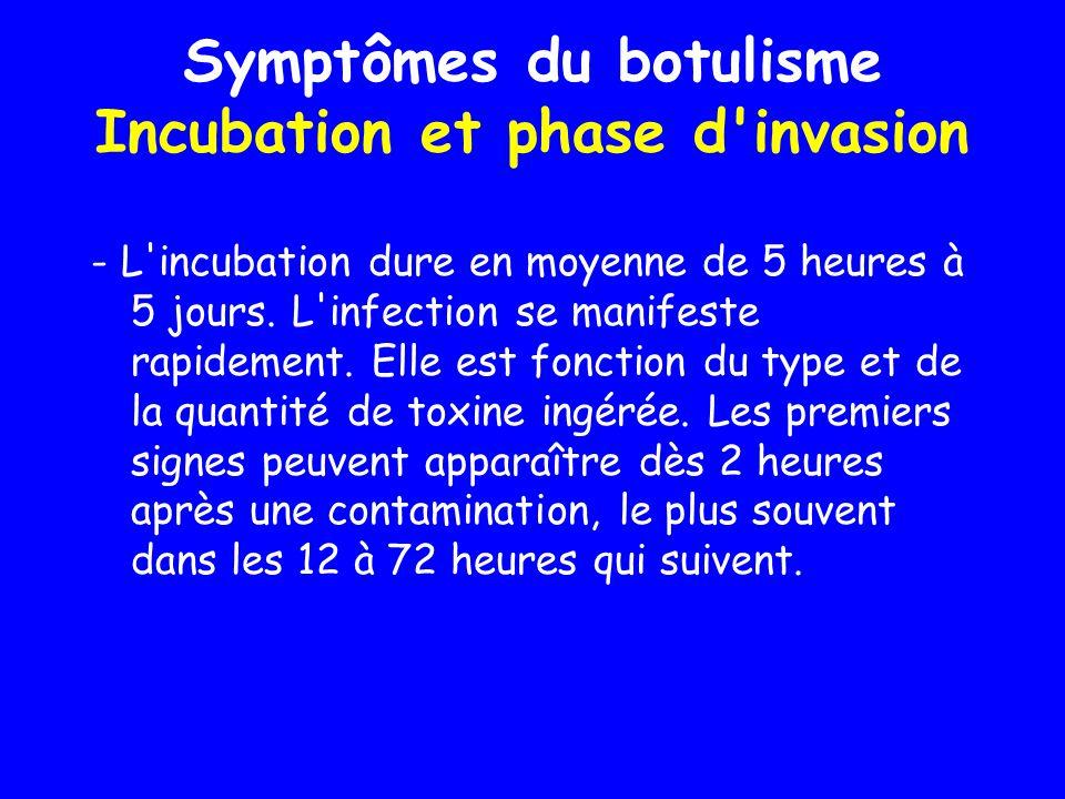 Symptômes du botulisme Incubation et phase d invasion