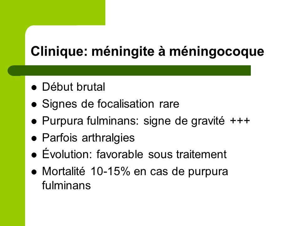 Clinique: méningite à méningocoque