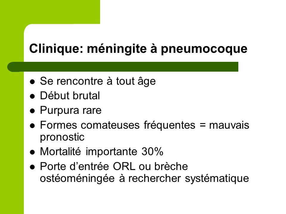 Clinique: méningite à pneumocoque