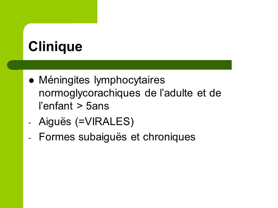 Clinique Méningites lymphocytaires normoglycorachiques de l'adulte et de l'enfant > 5ans. Aiguës (=VIRALES)