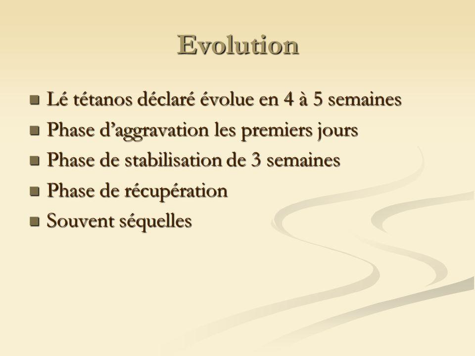 Evolution Lé tétanos déclaré évolue en 4 à 5 semaines