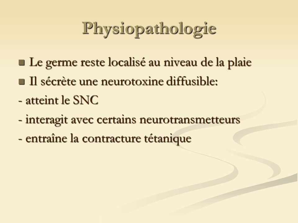 Physiopathologie Le germe reste localisé au niveau de la plaie