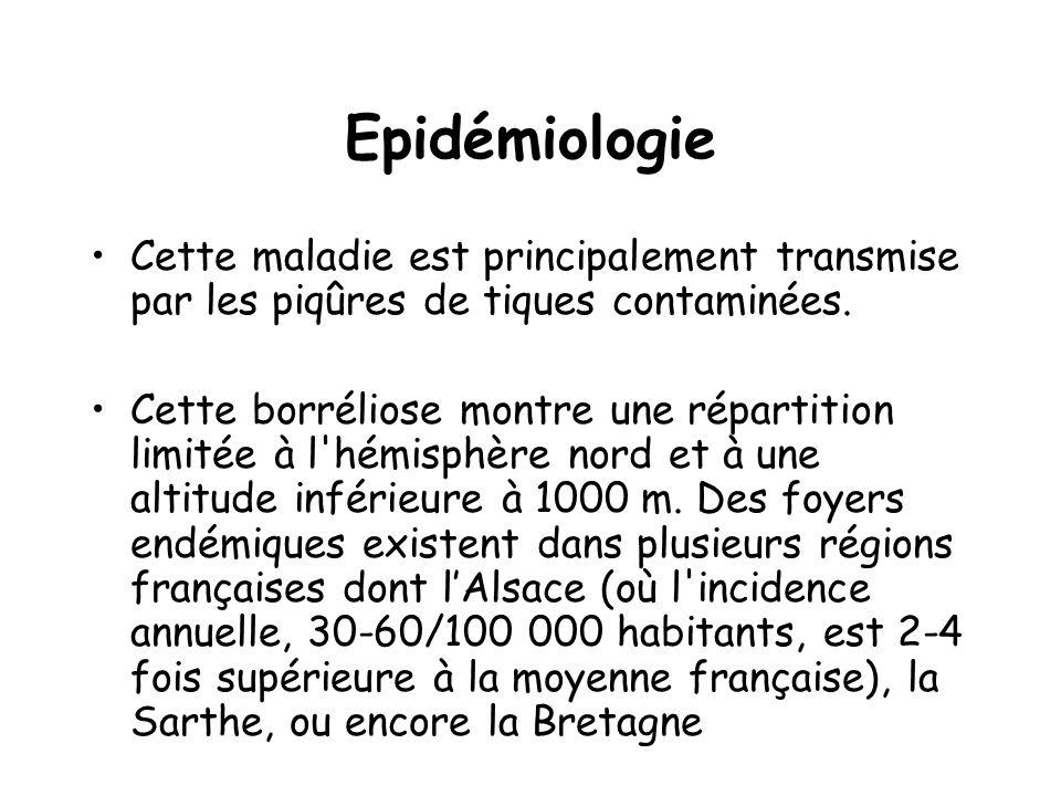 Epidémiologie Cette maladie est principalement transmise par les piqûres de tiques contaminées.