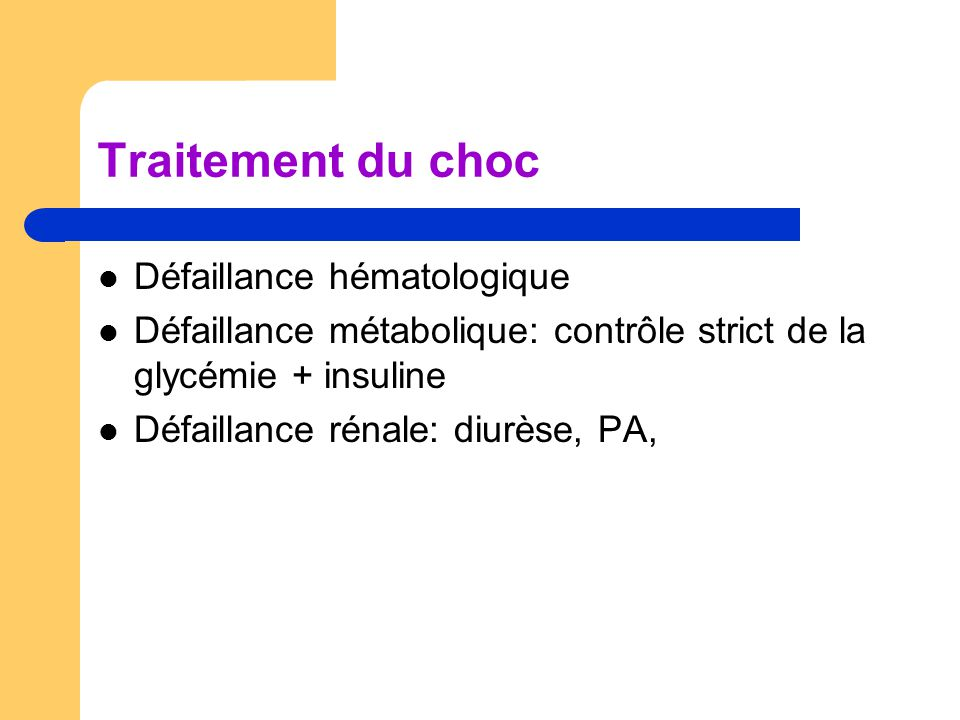 Traitement du choc Défaillance hématologique