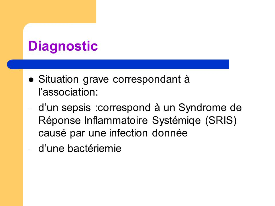 Diagnostic Situation grave correspondant à l'association: