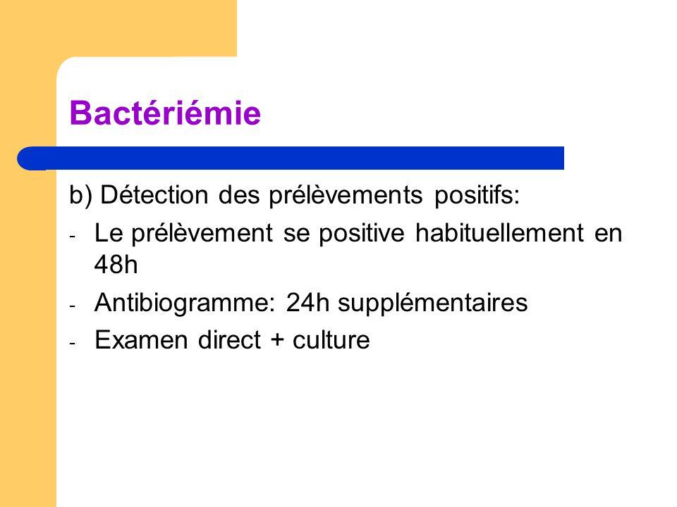 Bactériémie b) Détection des prélèvements positifs: