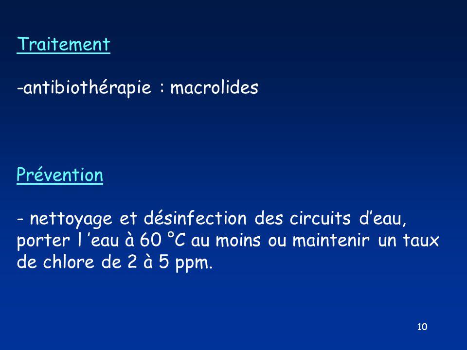 Traitement -antibiothérapie : macrolides. Prévention.
