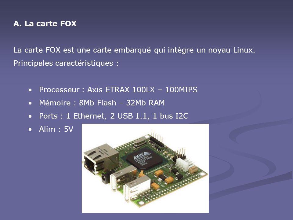 La carte FOX La carte FOX est une carte embarqué qui intègre un noyau Linux. Principales caractéristiques :