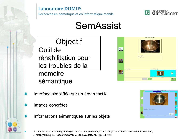 SemAssist Objectif. Outil de réhabilitation pour les troubles de la mémoire sémantique. Interface simplifiée sur un écran tactile.
