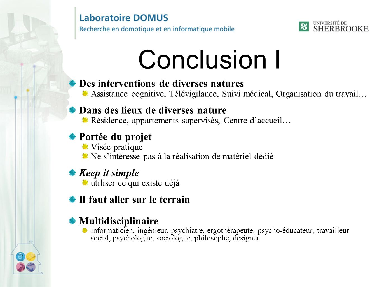 Conclusion I Des interventions de diverses natures