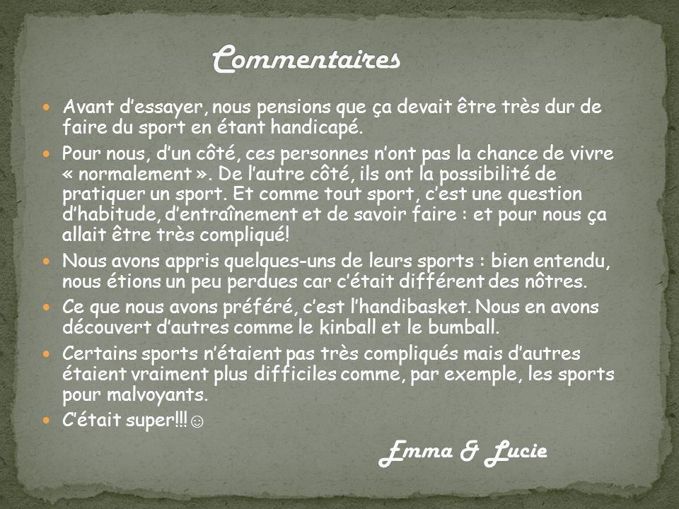 Commentaires Emma & Lucie