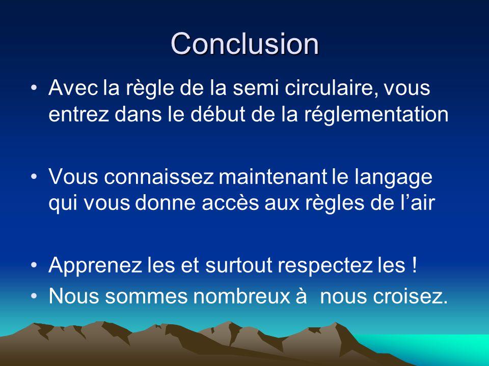 Conclusion Avec la règle de la semi circulaire, vous entrez dans le début de la réglementation.