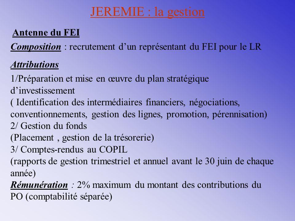 JEREMIE : la gestion Antenne du FEI. Composition : recrutement d'un représentant du FEI pour le LR.