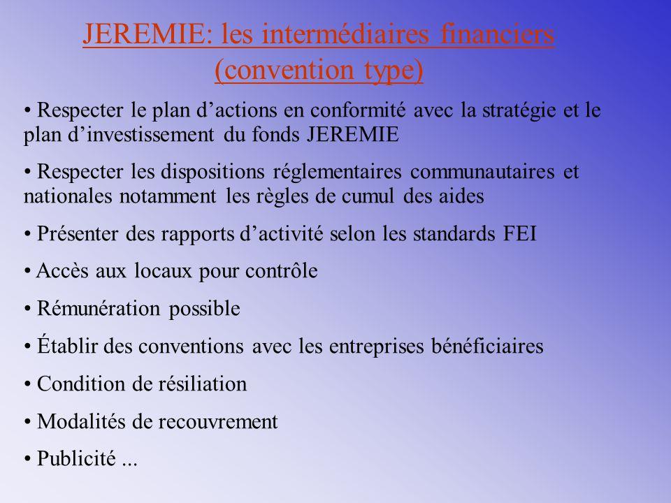 JEREMIE: les intermédiaires financiers (convention type)