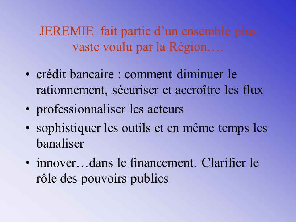 JEREMIE fait partie d'un ensemble plus vaste voulu par la Région….