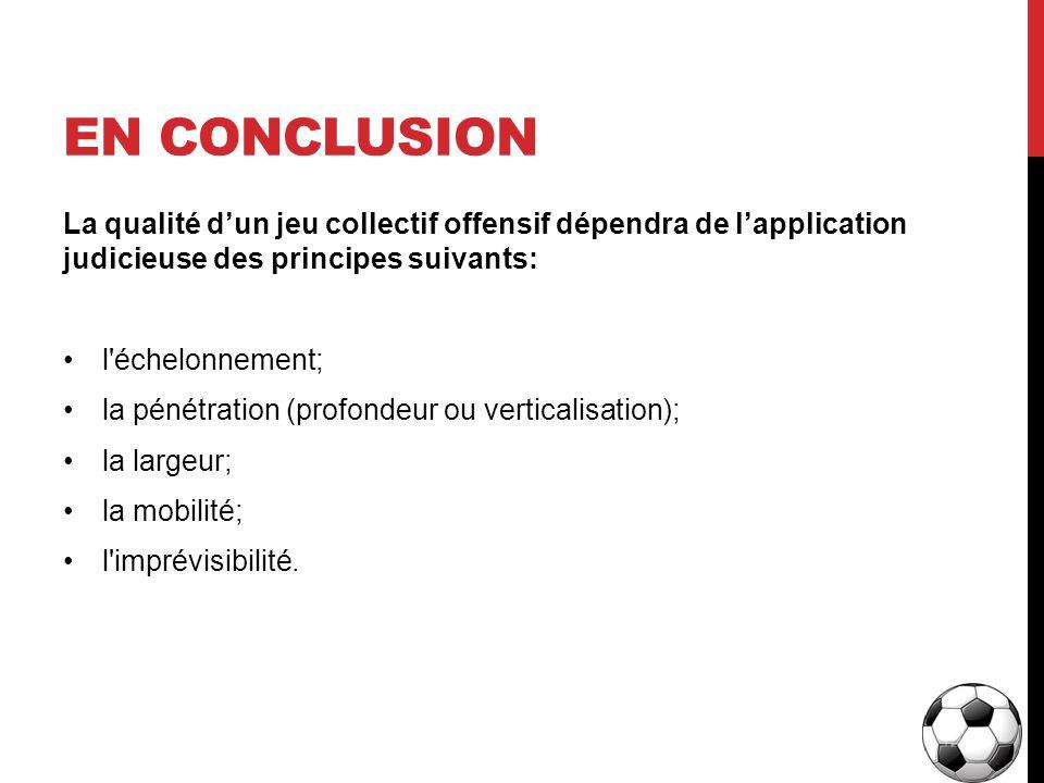 En conclusion La qualité d'un jeu collectif offensif dépendra de l'application judicieuse des principes suivants: