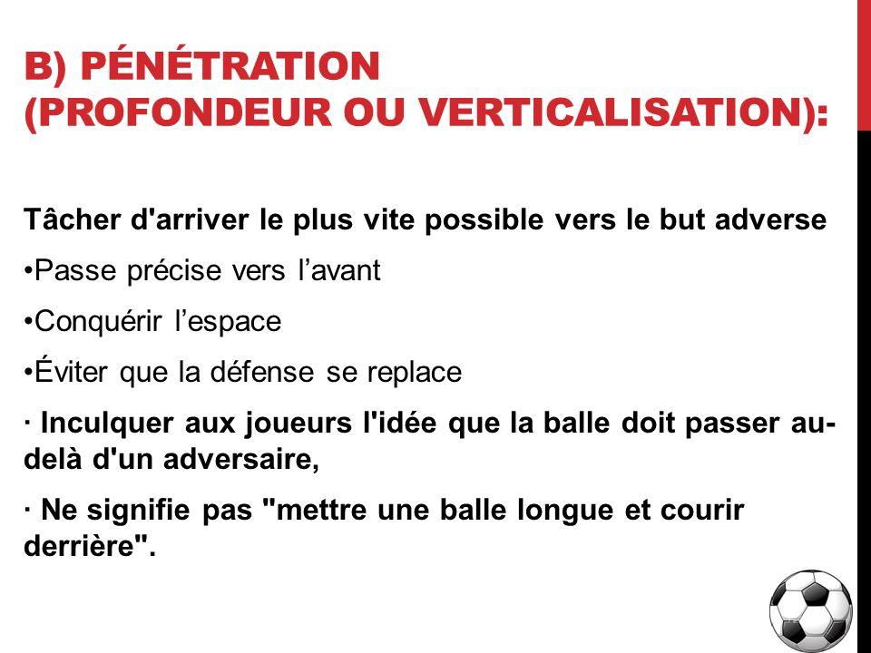 B) Pénétration (Profondeur ou verticalisation):