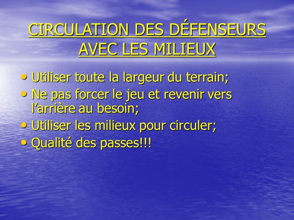 CIRCULATION DES DÉFENSEURS AVEC LES MILIEUX