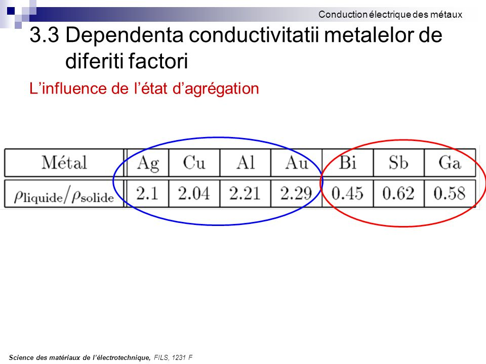 3.3 Dependenta conductivitatii metalelor de diferiti factori