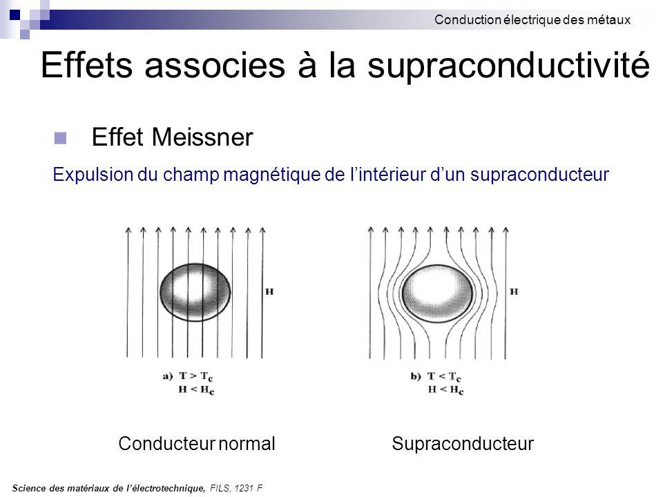 Effets associes à la supraconductivité