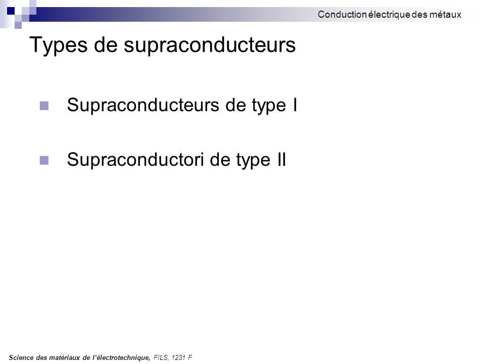 Types de supraconducteurs