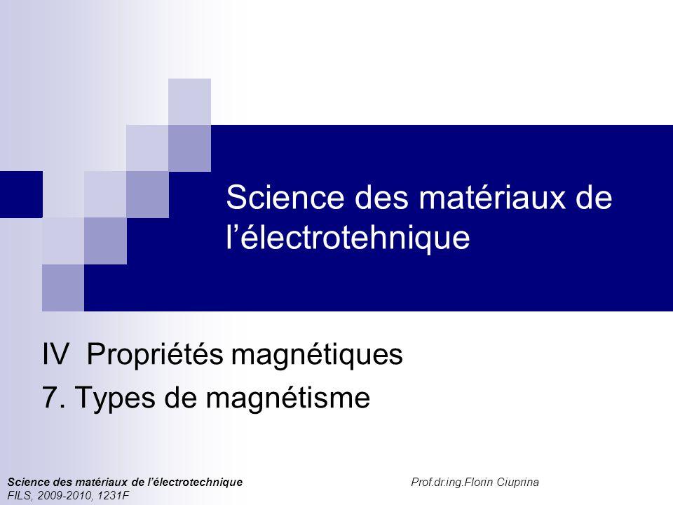 Science des matériaux de l'électrotehnique