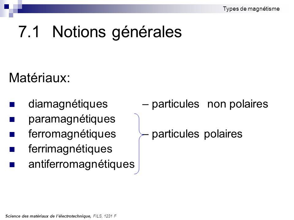 7.1 Notions générales Matériaux: