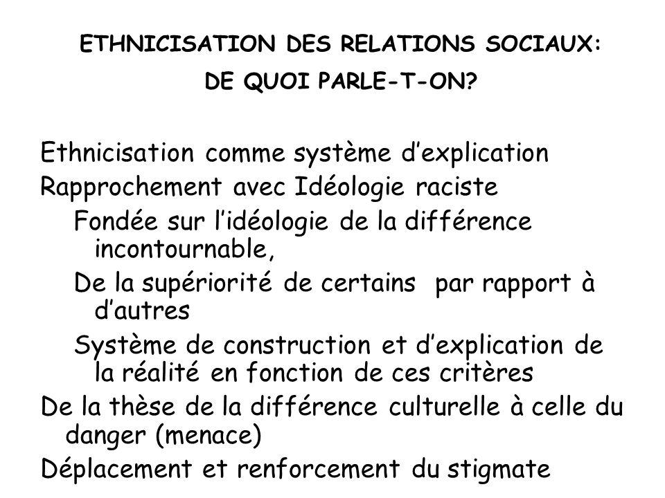 ETHNICISATION DES RELATIONS SOCIAUX: DE QUOI PARLE-T-ON