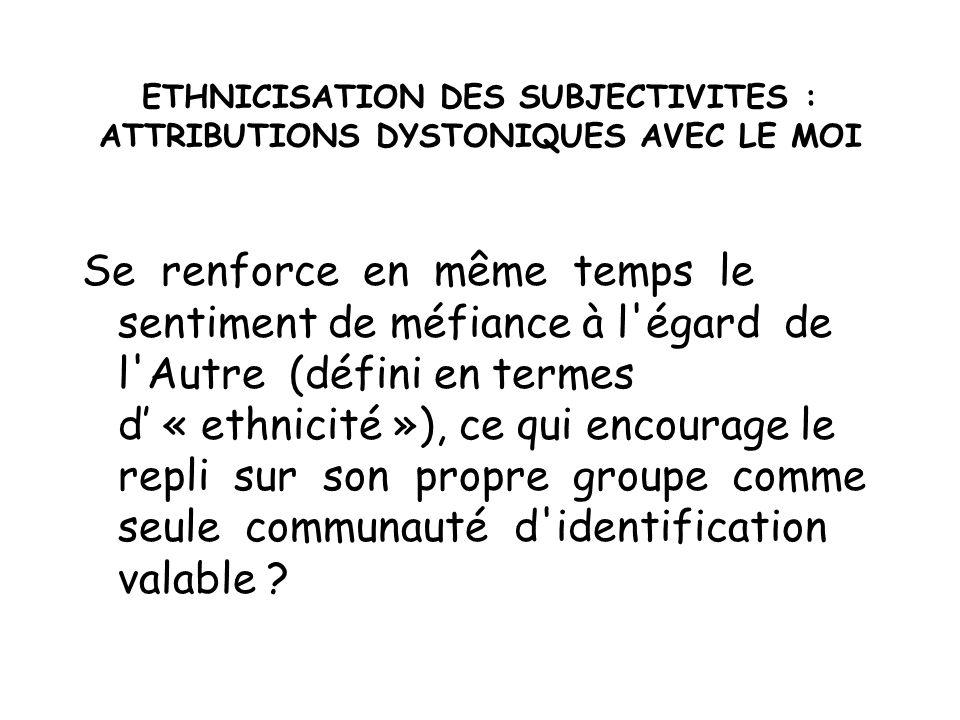 ETHNICISATION DES SUBJECTIVITES : ATTRIBUTIONS DYSTONIQUES AVEC LE MOI